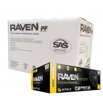 SAS Raven Powder-Free Black Nitrile Disposable Gloves CASE (10 BOXES)
