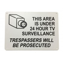 "Plastic, Black On White Color Security Area Sign, Legend ""This Area Is Under 24 Hour TV Surveillance Trespassers Will Be Prosecuted (With Picto)"